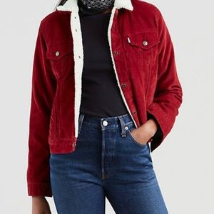 Levi's Sherpa Trucker Jacket in Red Corduroy